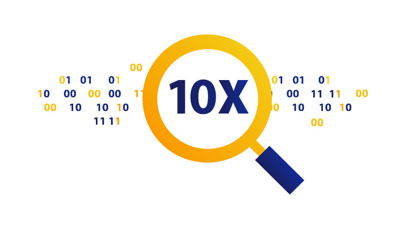 Illustration of a magnifying glass viewing the magnified text '10X'.